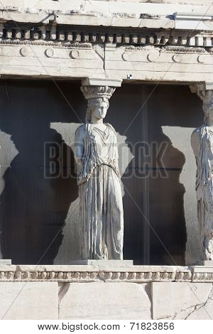 Caryatids On Erechtheion Temple In Athens