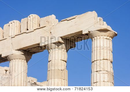Close Up Of Columns In Parthenon Temple