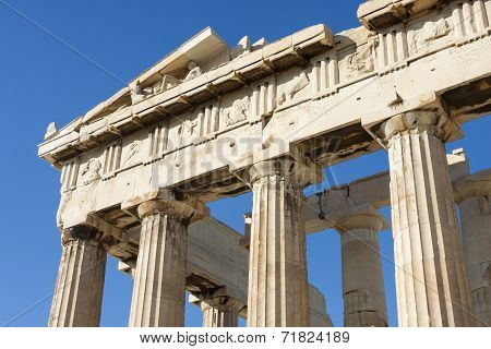 Close Up Of Columns In Parthenon