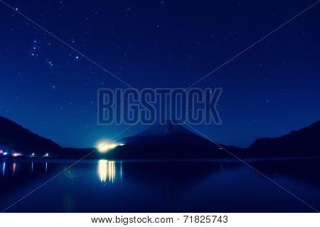 Inverted image of Mount Fuji at night