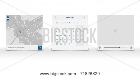 set web ui elemants in blue and white color. Vector flat design. Mobile app