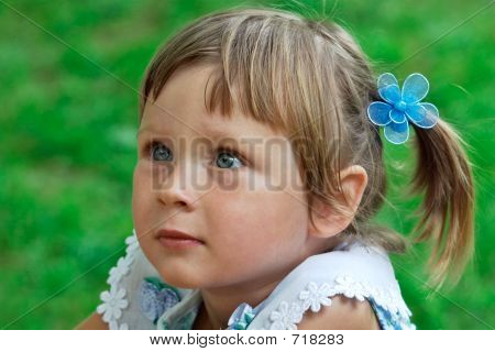 Portrait Of Little Girl Listening Some Story