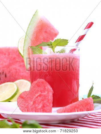 Watermelon cocktail on table, isolated on white