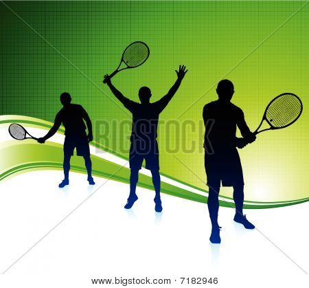 Tennis Players On Abstract Green Background