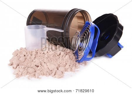 Whey protein powder and plastic shaker isolated on white