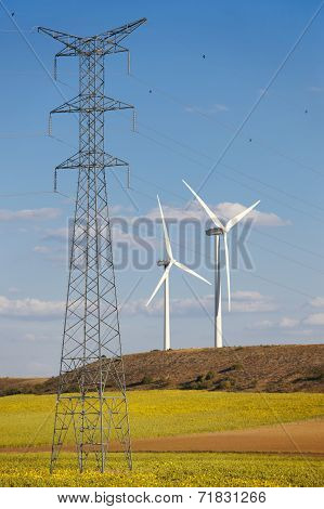 High Voltage Power Lines And Wind Energy