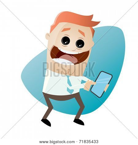 funny businessman with smartphone
