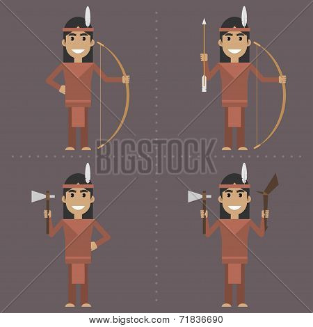 Indian character holds weapon