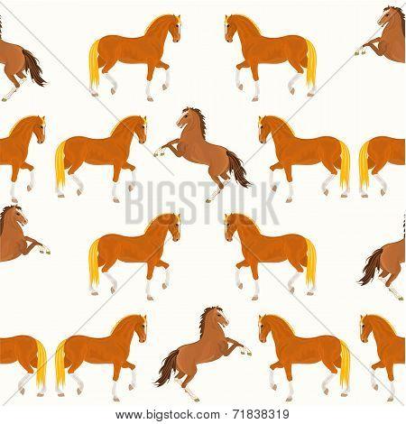 Seamless  Texture Horses Vector