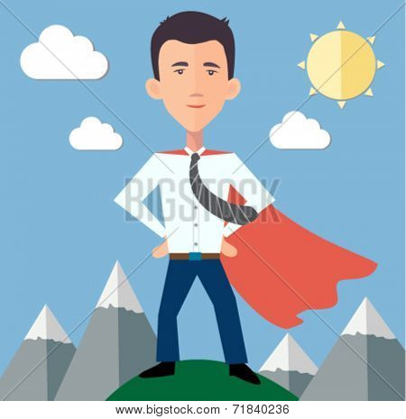 businessman hero standing on top of the world