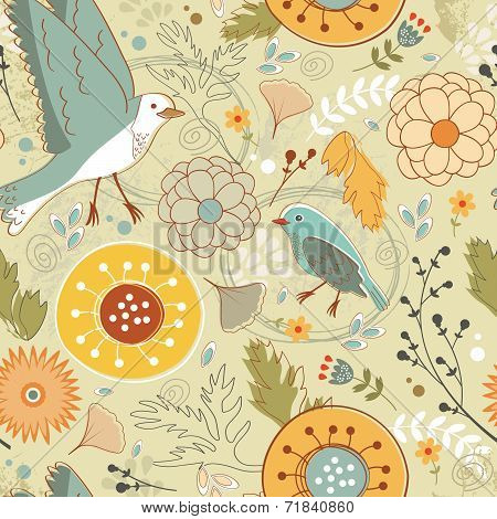 Autumn pattern with birds, flowers and leaves