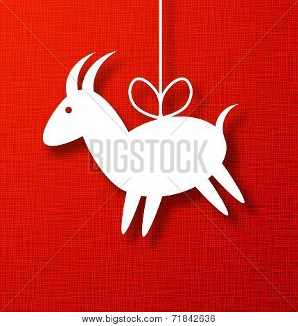 Goat Paper Applique on Bright Red Canvas Background. 2015 - Chinese New Year of the Goat.