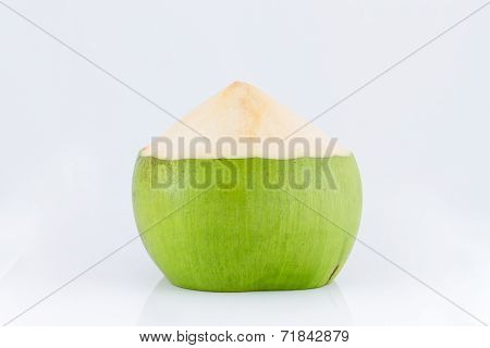 Young coconut fruit on white background