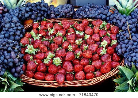 Strawberries at fruit market