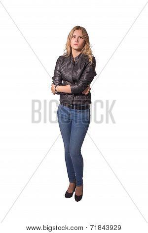 Sad Woman In Leather