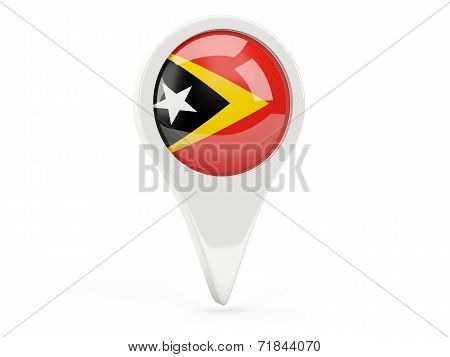 Round Flag Icon Of East Timor