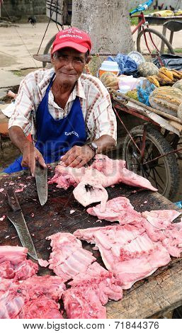 Seller of the meat In Colombia