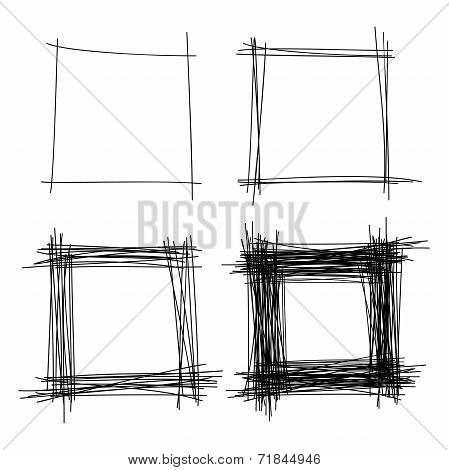 Set of Hand Drawn Scribble Squares