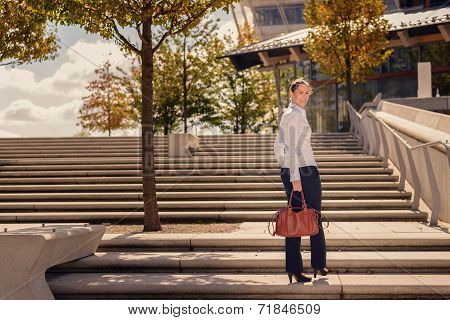Stylish Woman Climbing A Flight Of Urban Stairs