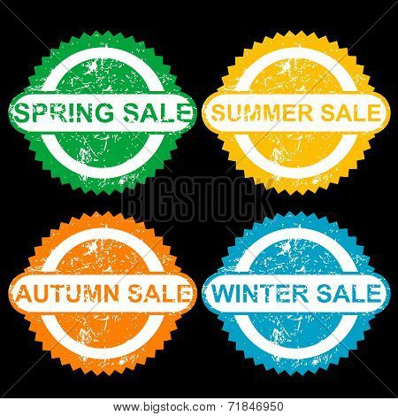 Rubber Stamps With Texr Spring Sale, Sumer Sale, Autumn Sale And Winter Sale
