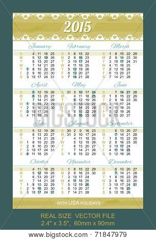 Pocket Calendar 2015, With Usa Holidays