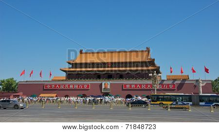 Beijing, China - July 2014: Tourists Lined up to Visit Tiananmen Square