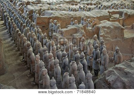 Xian, China - July 2014: The Terracotta Army Excavated at The  Site