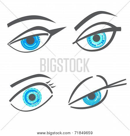 Graphic Robot Woman Look Eyes Set