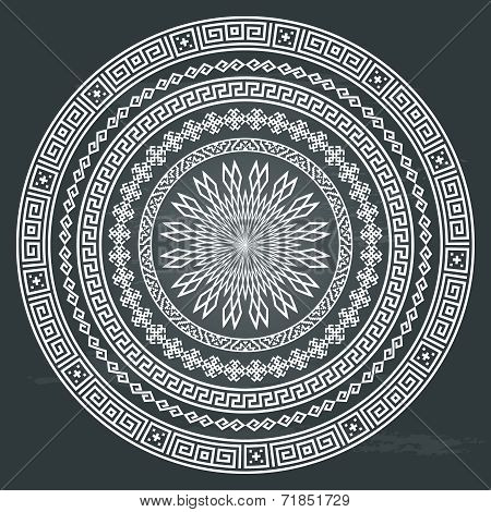 Round ornamental vector shape isolated on chalkboard background