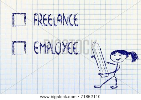 Lifestyle Choices: Multiple Choice Test, Working Freelance Or As Employee