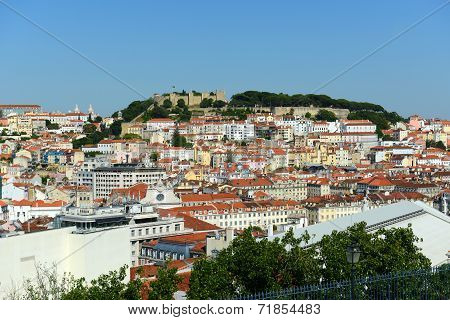 Lisbon skyline and Castle of Sao Jorge, Portugal