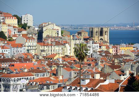 Lisbon Cathedral and Tagus River, Lisbon, Portugal