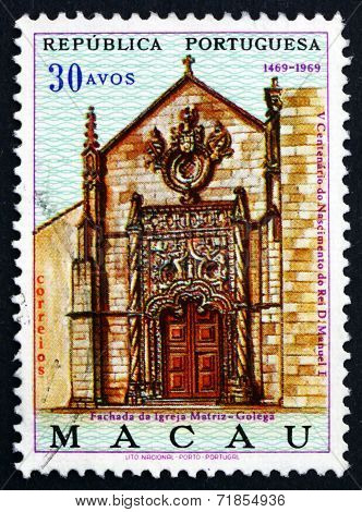 Postage Stamp Macau 1969 Portal Of Mother Church, Golega