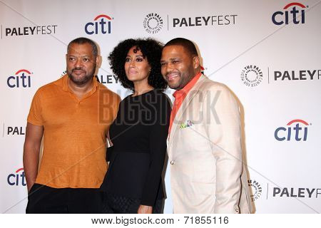 LOS ANGELES - SEP 11:  Lawrence Fishburne, Tracee Ellis Ross, Anthony Anderson at the PaleyFest 2014 Fall TV Previews - ABC at Paley Center For Media on September 11, 2014 in Beverly Hills, CA
