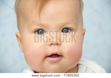 Adorable Baby Child With Chubby Cheeks Portrait