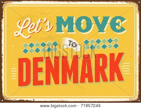 Vintage metal sign - Let's move to Denmark- JPG Version