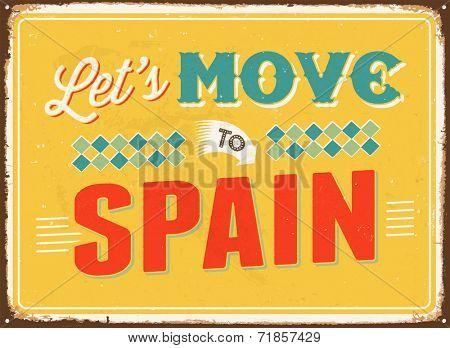 Vintage metal sign - Let's move to Spain - JPG Version