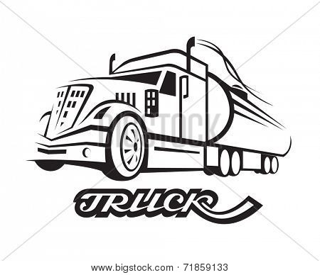 monochrome illustration of fuel truck with cistern