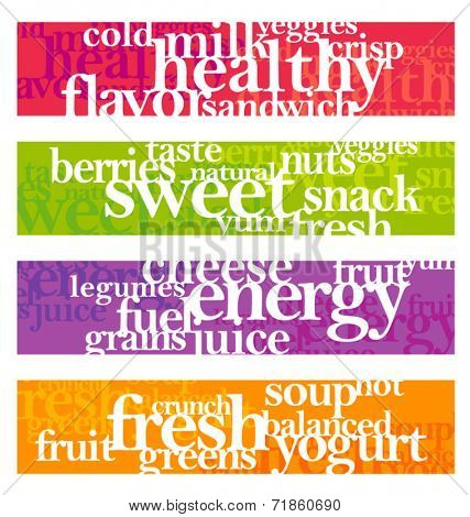 nutrition words banner set