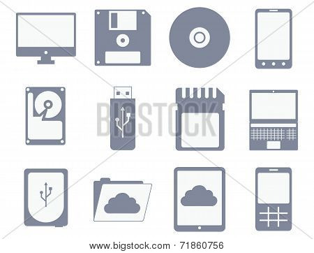 vector icon set of different storage and computer devices
