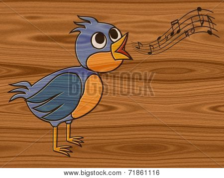 Singing Bird Relief Painting On Generated Wood Texture Backgroun