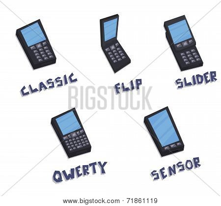 Vector mobile phones icon types set