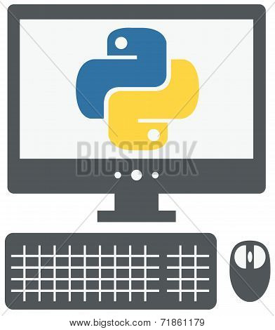 vector icon of personal computer with python sign on the screen,