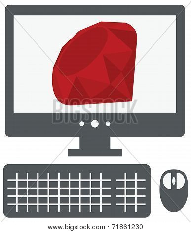 vector illustration of personal computer with ruby sign on the s