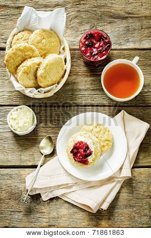 Oat Scones With Cream Cheese And Caramelised Plums