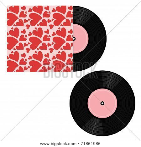 vinyl record and pack on white background