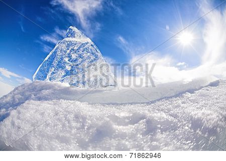 Ice on blue sky background