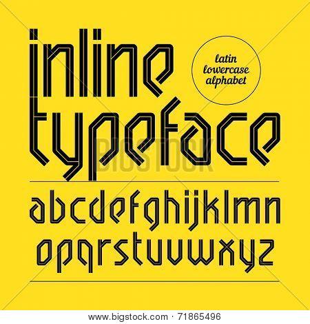 Modern inline typeface, alphabet. Vector.