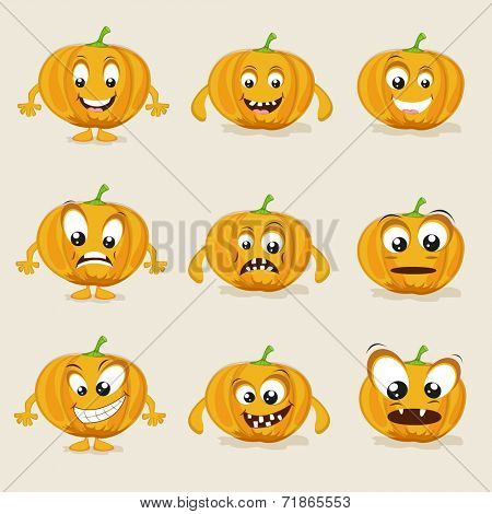 Pumpkin in different moods, healthy food concept with cartoon facial expressions.