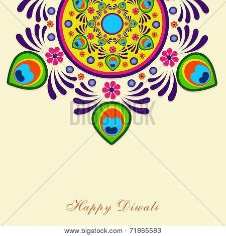 Beautiful colorful rangoli on beige background for Hindu community festival Happy Diwali celebrations.